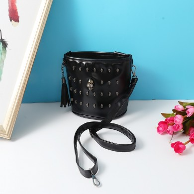 Punk Skull Rivet Black Pu Women Bucket Shoulder Bag
