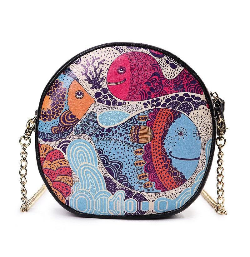 Women Faux Leather Personalized Print Round Bag Shoulder Bag (Color: 10) фото