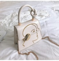 Women Fashion Knot Detail Face Embroidery Satchel Bag