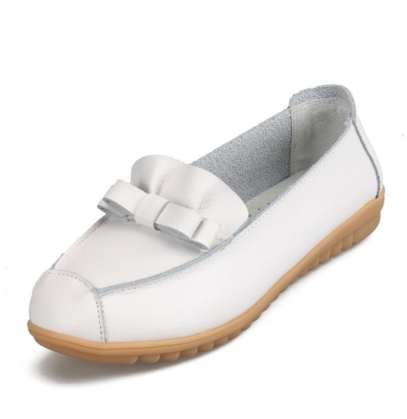 Women Casual Leather Pure Color Soft Loafers Comfortable Round Toe Slip On Flat Shoes (Color: White, Size(US): 8) фото