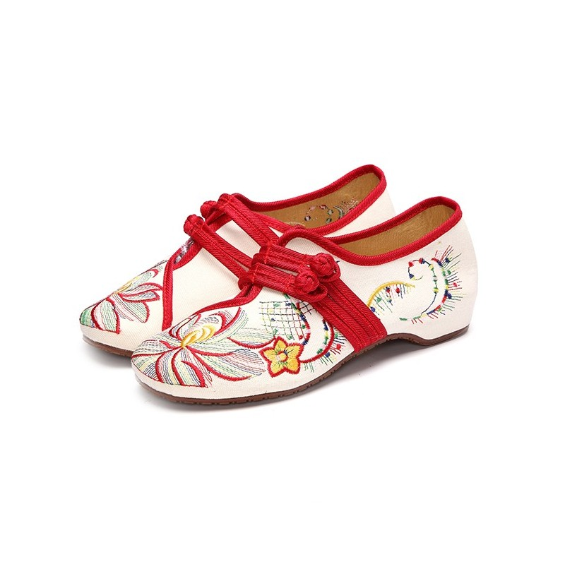 US Size 5-12 Women Casual Embroidery Floral Slip On Outdoor Flat Shoes (Color: Black, Size(US): 11) фото