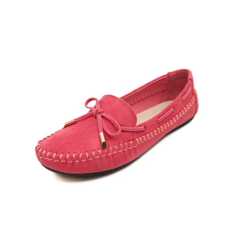 Bowknot Artificial Suede Soft Flat Loafers For Women (Color: Purple, Size(US): 5) фото