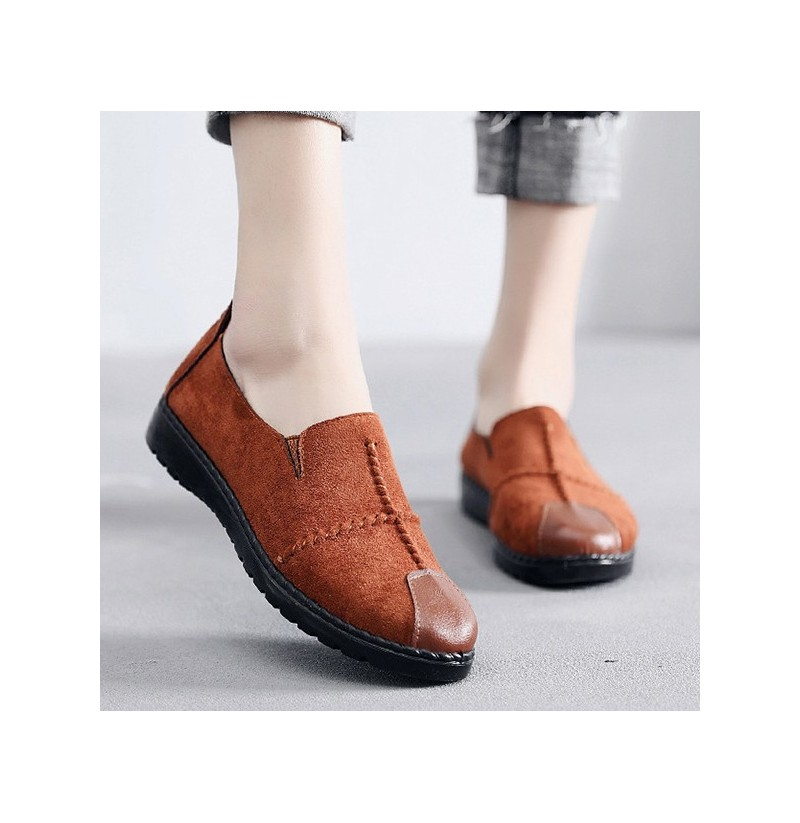 Women Casual Suede Soft Sole Loafers (Color: Brown, Size(US): 6) фото