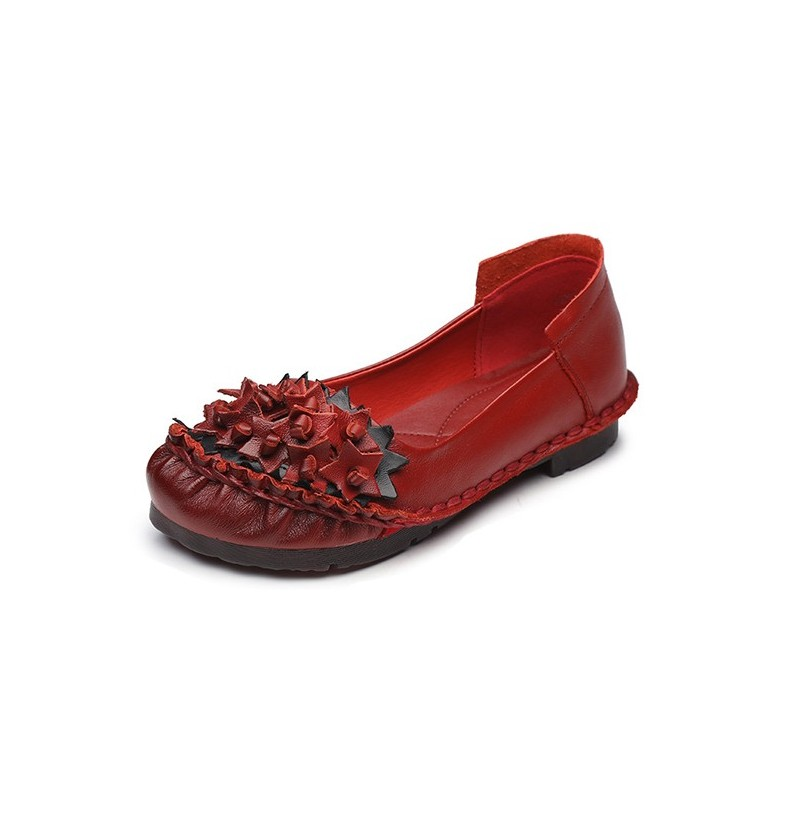 SOCOFY Handmade Retro Leather Flats (Color: Red, Size(US): 6) фото