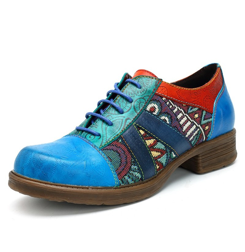 SOCOFY Bohemian Splicing Pattern Flats Leather Shoes (Color: Navy, Size(US): 7) фото