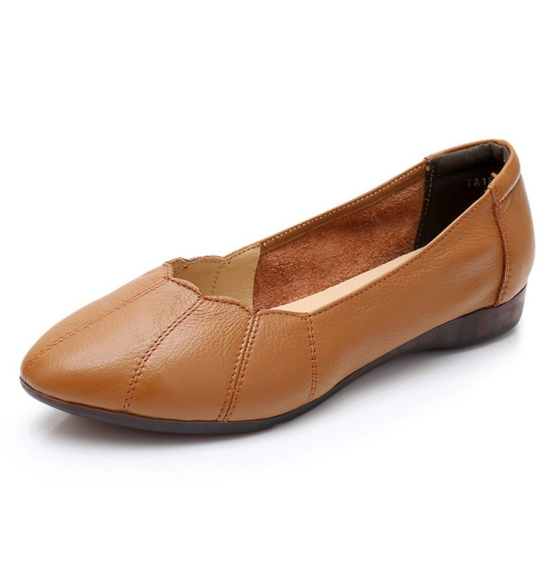 Women Soft Sole Comfortable Leather Flats Loafers (Color: Grey, Size(US): 7) фото