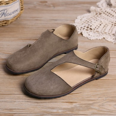 Women Comfy Suede Buckle Pure Color Flats