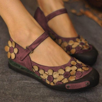 Women Casual  Flower Loafers Soft Flats Shoes