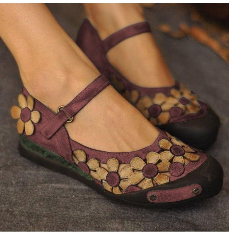 Women Casual Flower Loafers Soft Flats Shoes (Color: Purple, Size(US): 9) фото