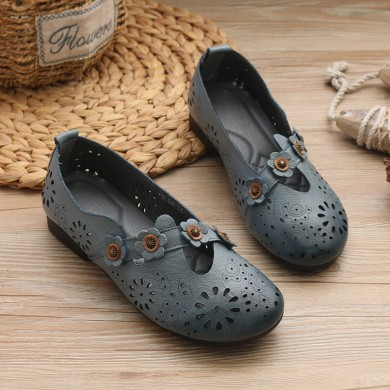 Women Casual  Retro Flowers Hollow Out Flats