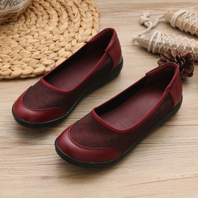 Women Casual Soft Leather Stitching Slip On Flats
