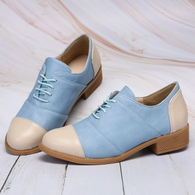 Women Casual Comfy Color Splicing Lace Up Loafers