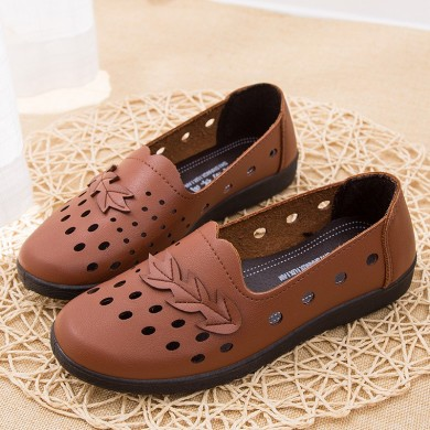 Women Casual Hollow Out Breathable Soft Bottom Flats