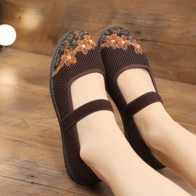 Women Cloth Mesh Printing  Breathable Elastic Band Flats