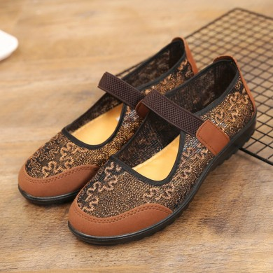 Women Cloth Stitching Lightweight Elastic Band Flats