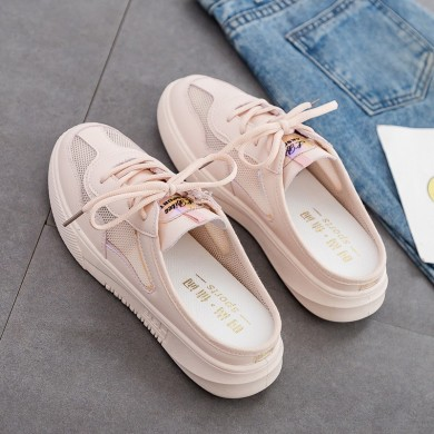 Women Casual Breathable Half Support Lace Up Loafers