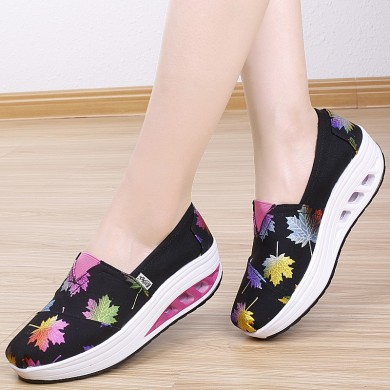 Women Printed Cloth Lightweight Breathable  Loafers