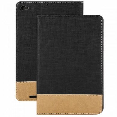 Canvas Grain PU Защитный Чехол для Xiaomi Mi Pad 3 - BLACK AND BROWN