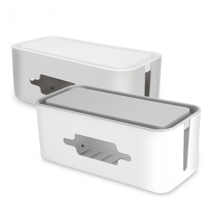 BUBM JXH Cable Management Box Power Cord Organizer Wire Storage Box Power Strip for USB Cables HDMI Aux Cord Electric Strip