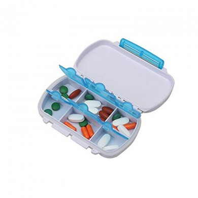 Portable 6 Grid Storage Box Mini Double Couche Classification des drogues Airtight Container Voyage Acc