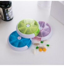 7 Cases Round Pill Box 7 Days Plastic Storage Box Rotating Portable Pill Box Case