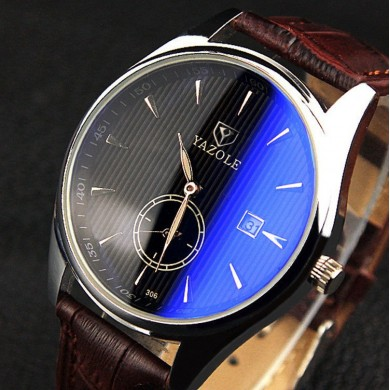 YAZOLE 306 Men Fashion Casual Luminous Hands Calendar Relógio Quartz De Couro