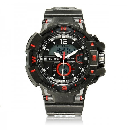 ALIKE AK14109 Men Analog Digital Waterproof Stopwatch Rubber Band Sport Wrist Watch