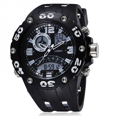 OHSEN AD2801 Analog Digital Double Display Rubber Band Men Sport Watch