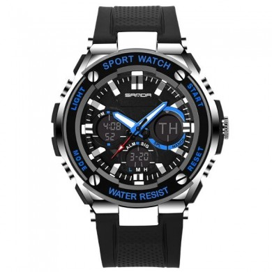 SANDA 733 Fashion Men LED Digital Watch Waterproof Silicone Strap Sport Watch