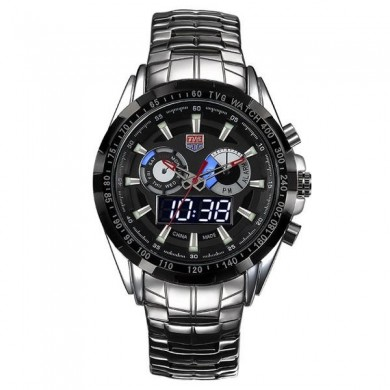 TVG 579 Fashion Men Digital Watch Dual Display Stainless Steel Strap Sport Watch