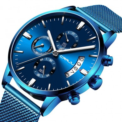 CRRJU 2273 Men Blue Dial Full Mesh Steel Quartz Watch