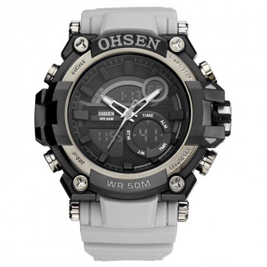 OHSEN AD1706 Digital Watch Dual Display Multifunzione LED Sport Uomo Nuoto Orologi
