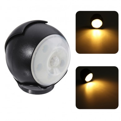3W 5 LED 360° Auto Motion Sensor Night Light Wireless Battery PIR Cabinet Lamp
