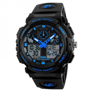 SKMEI 1270 Men Watch Dual Display Stopwatch Alarm Sport Fashion Male Quartz Digital Watch