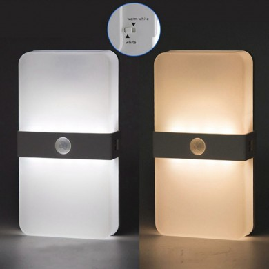 Two Color USB Rechargeable Magnet PIR Motion Sensor LED Cabinet Light Bedroom Stair Night Wall Lamp