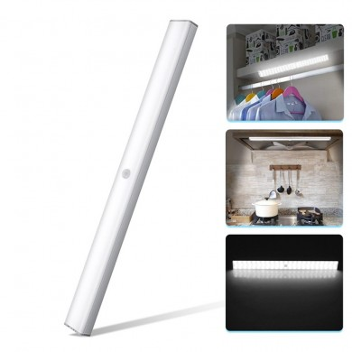 Wireless 68 LED Dimmable PIR Motion Sensor Under Cabinet Lamp USB Rechargeable Night Light