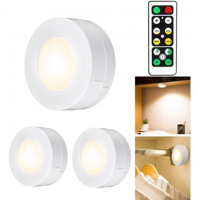 3pcs Wireless LED Night Light Bedroom Hallway Cabinet Stair Lamp Remote Control