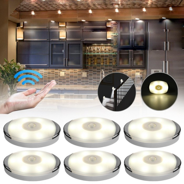 3pcs / 6pcs PIR Motion Sensor Under Cabinet  Light Human Body Induction for Kitchen Cupboard Warm White