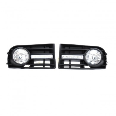 Car Front Grille Fog Lights DRL Lamps w/ Wiring Harness Pair for VW Golf 5 2006-2009