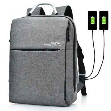 15.6 Inch Multi Pockets Dacron Backpack Solid Laptop Bag with Dual Usb Port & Rainproof Cover