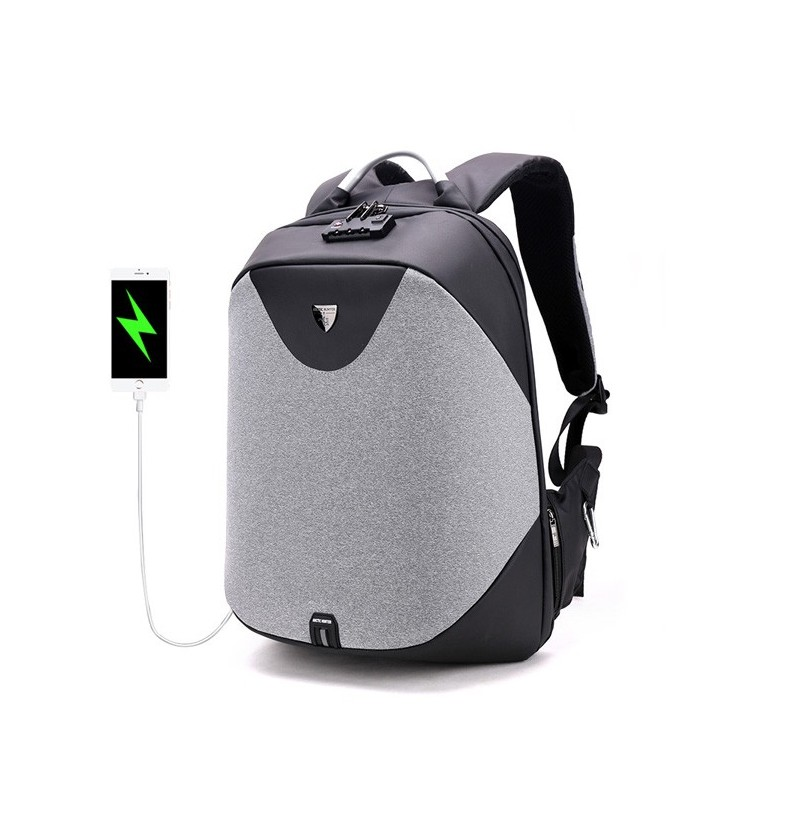 Men Antitheft Backpack with Costoms Lock & USB Charging Port (Color: Coffee 1)  - buy with discount