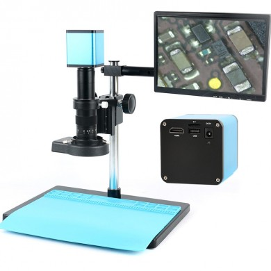 """Autofocus HDMI TF Video Auto Focus Industry Microscope Camera + 180X C-Mount Lens+Stand+144 LED Ring Light+10.1"""" LCD"""