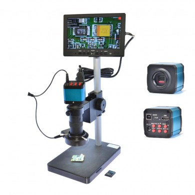"HAYEAR 14MP USB Digital Industry Microscope Camera 100X Zoon C-mount Lens 4GB TF Card + 7"" Inch  LCD Monitor"