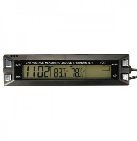 Auto Auto LCD Digitaluhr Thermometer Temperatur Spannung Meter Batterie Monitor