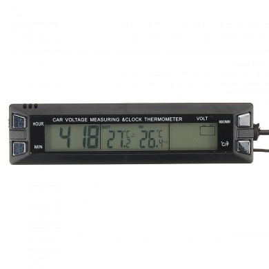 Car Thermometer Temperature Voltage Battery Monitor Alarm Digital Clock Display