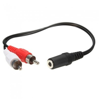3.5mm Female to 2x RCA Male Stereo AUX Audio Headphone Y Cable