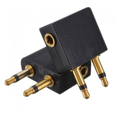2 PCS 3.5mm to 2 x 3.5mm Airplane Golden Plated Headphone Jack Plug Adapter