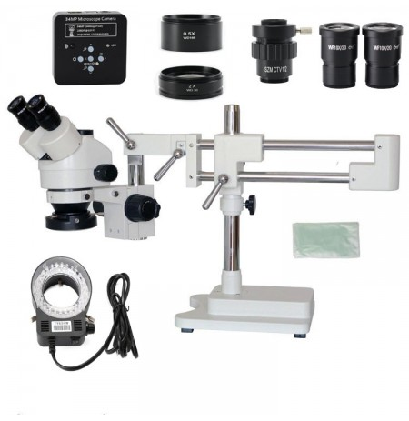 3.5X 7X 45X 90X Double Boom Stand Zoom Simul Focal Trinocular Stereo Microscope+34MP Camera Microscope For Industrial PCB Repair