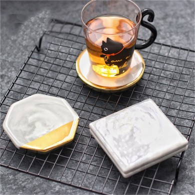 Gold marble Coaster Cup Mat Placemat Pad Holder 3 Styles Round Square Octagon