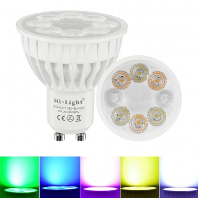 Dimmable GU10 4W Mi Light 2.4G Wireless RGBCCT LED Прожектор Лампа Лампа AC86-265V